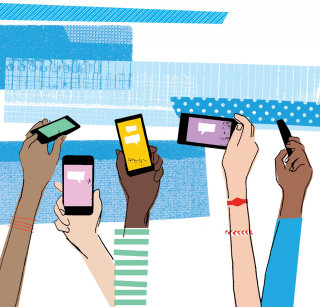 Retro art of mobiles in hands