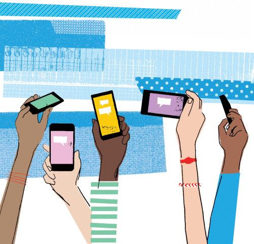 Arte retro de móviles en manos