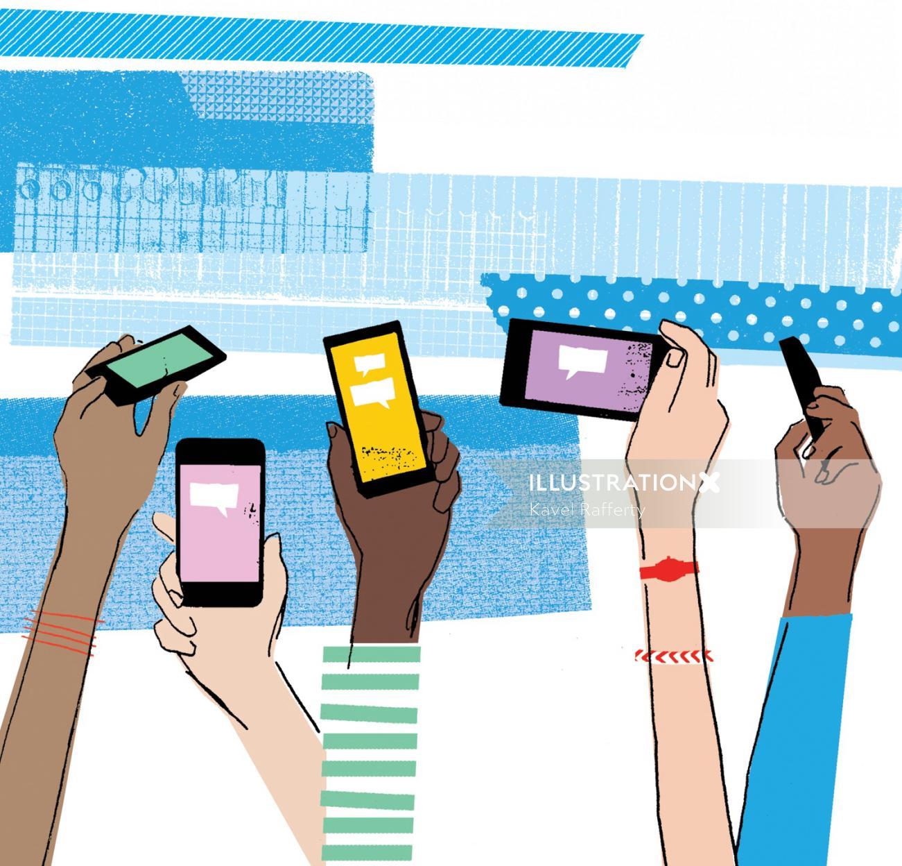 Retro art of mobiles in hands