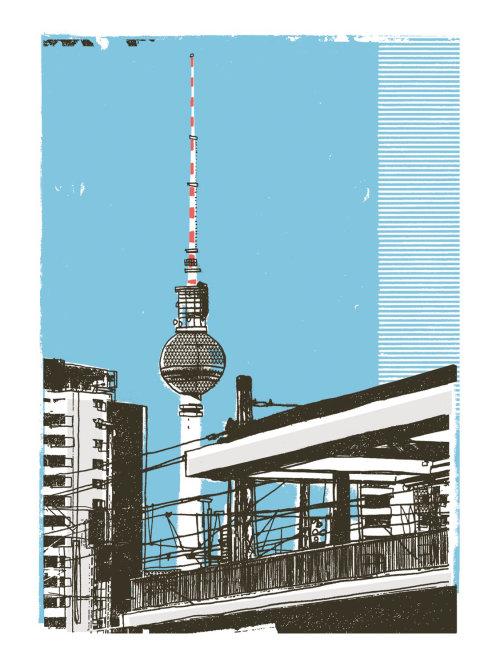 Fernsehturm Berlín arte de las técnicas mixtas