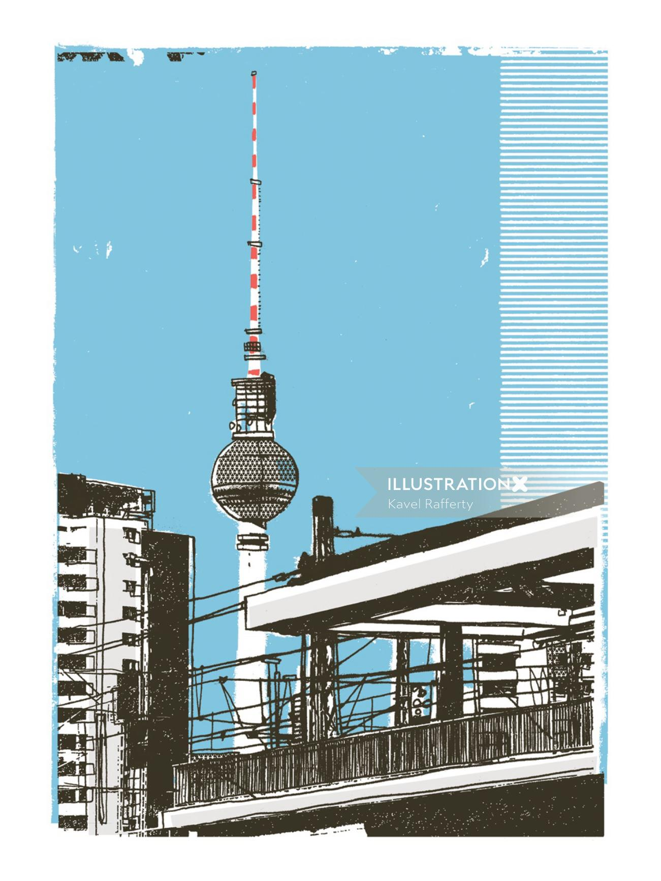 Fernsehturm Berlin mixed media art