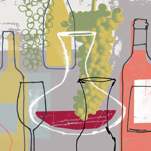 Wine glasses collage art
