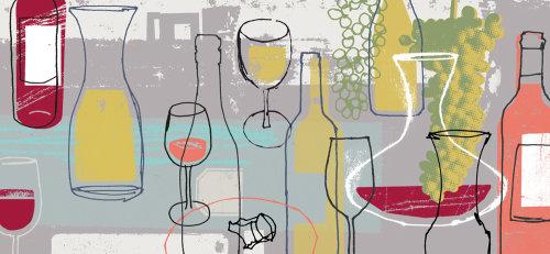 Copas de vino collage art