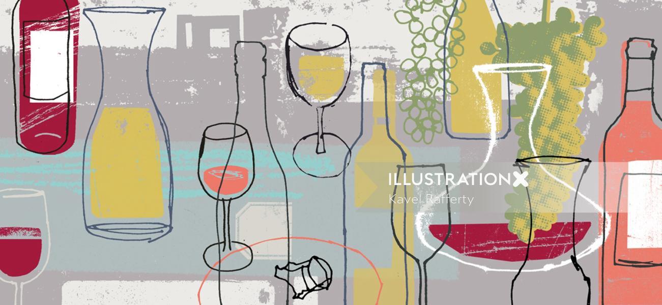 Wine glasses collage art