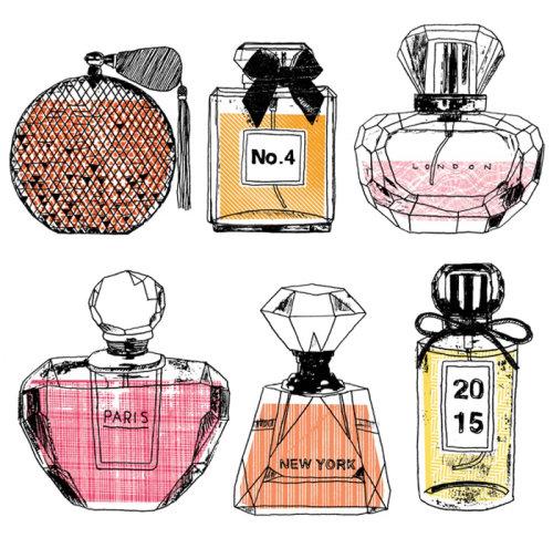 Ilustración de botellas de perfume