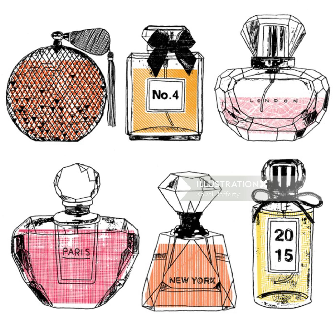 Perfume bottles illustration