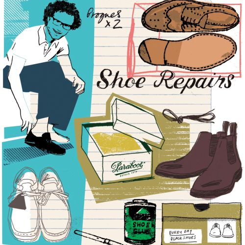 Men's shoe shopping illustration