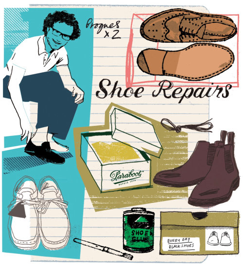 Ilustración de compras de zapatos para hombres