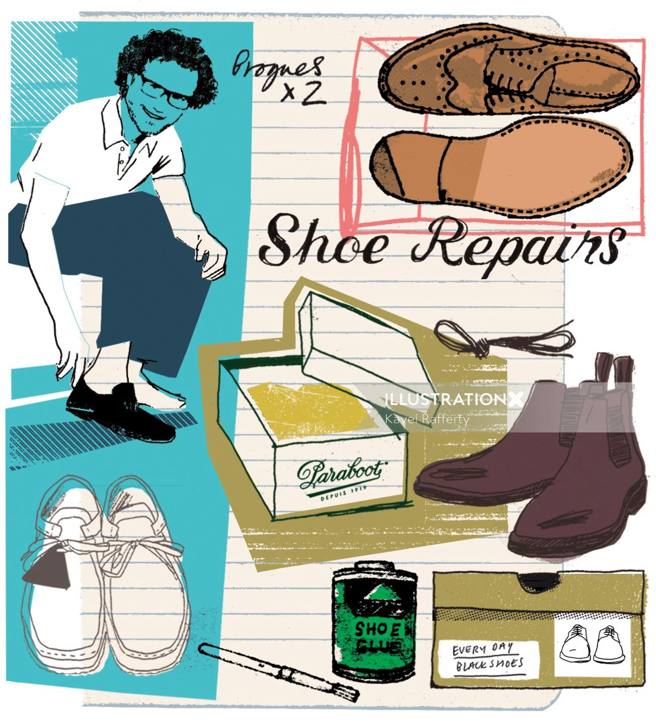 Men's shoe shopping illustration