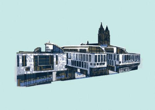 Classical building architecture illustration