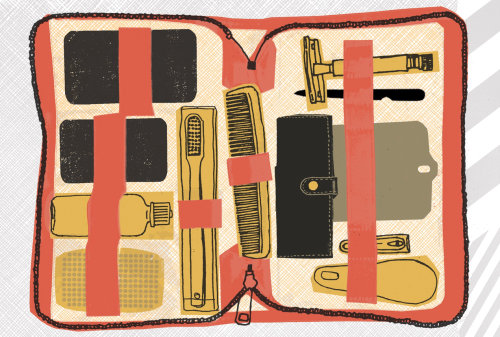Coloured line art for men's travel kit
