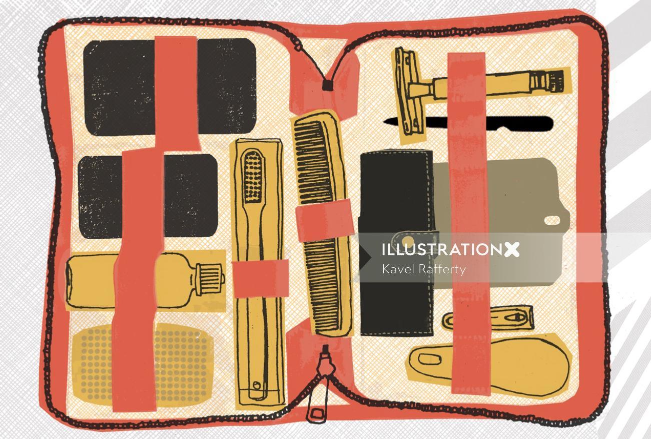 Coloured line art for men's travel kit