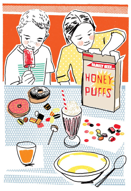 Food illustration of children eating cereal