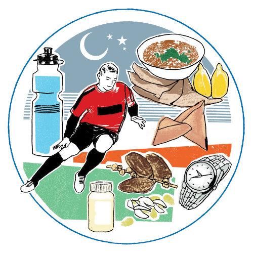 Una ilustración de futbolista y comida