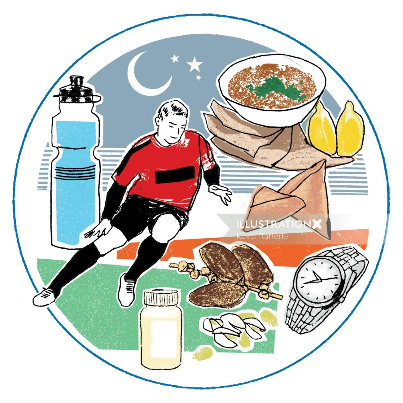 An Illustration Of Football Player & Food