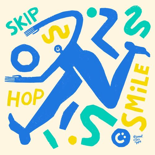skip hop is smile typography