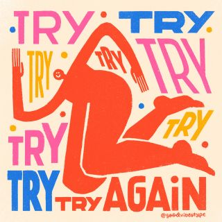 Try again lettering art