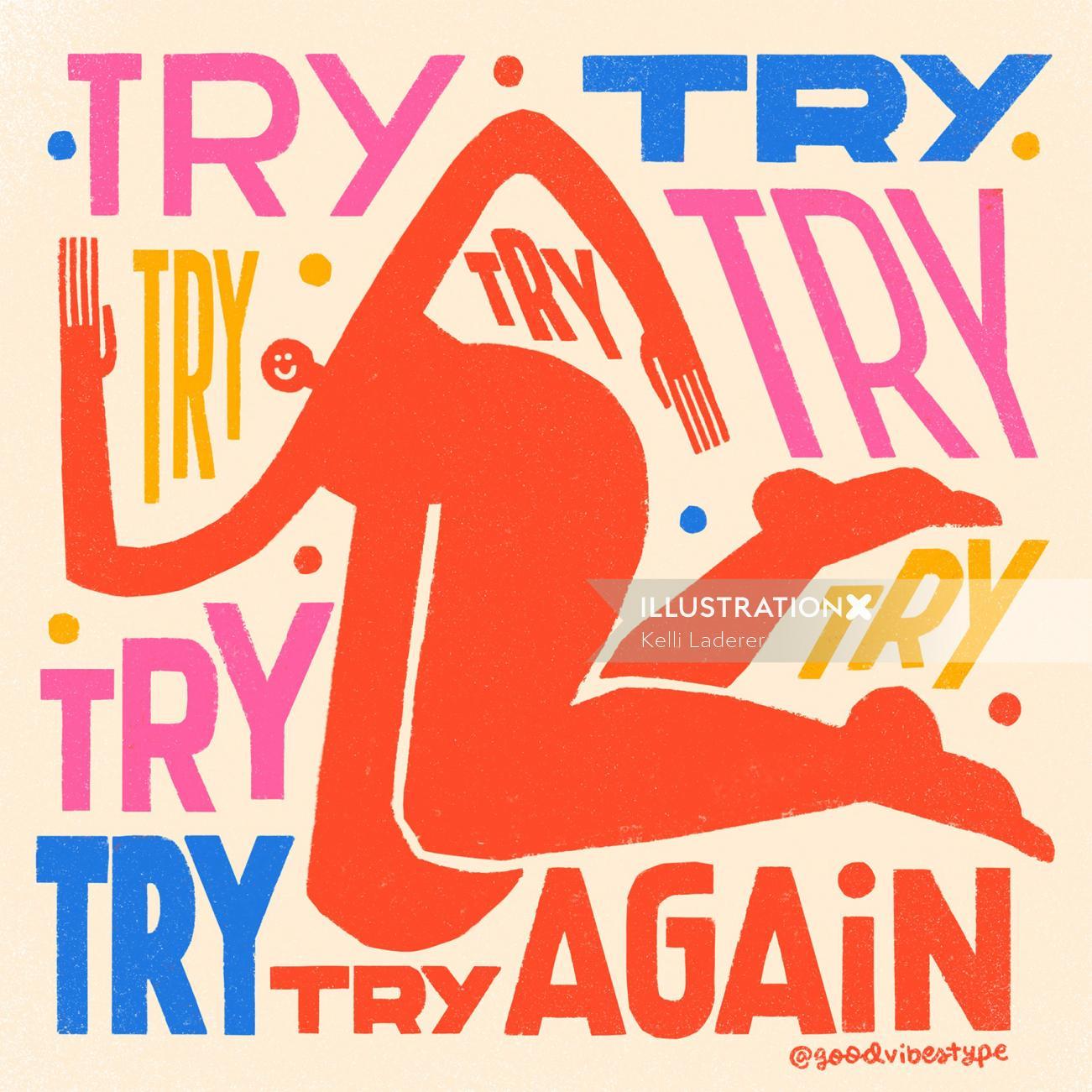 Try again lettering art