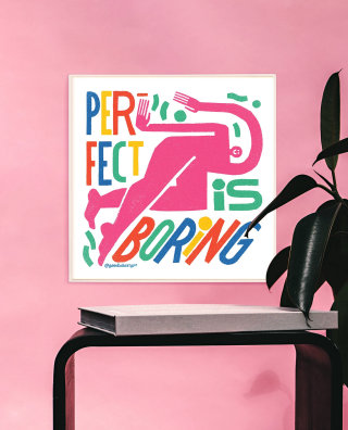 Perfection is boring mental health awareness typography