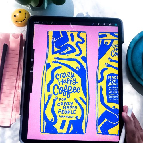 Crazy happy coffee lettering made on tablet