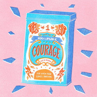 100% pure Courage can lettering
