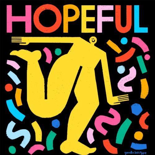 Lettering art of hopeful human