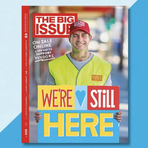 Were still here hand lettering for The Big Issue magazine cover