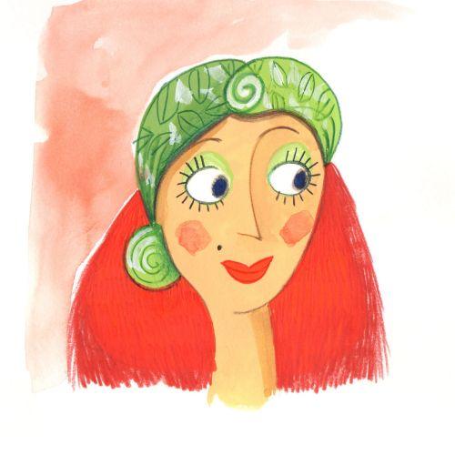 Fashion smiley woman green cap