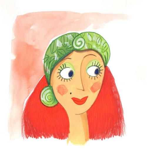 时尚笑脸女人绿色帽子