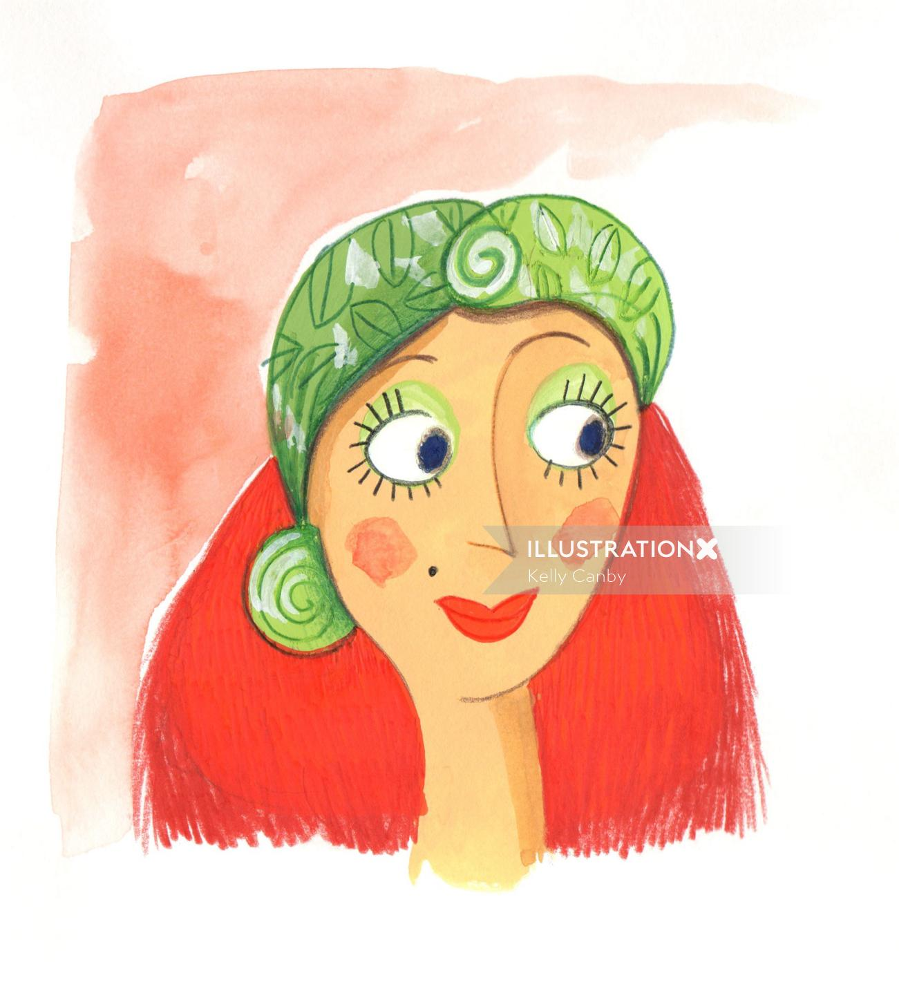 Fashion smiley woman green cap