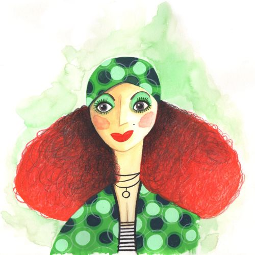 Fashion character woman with green pattern