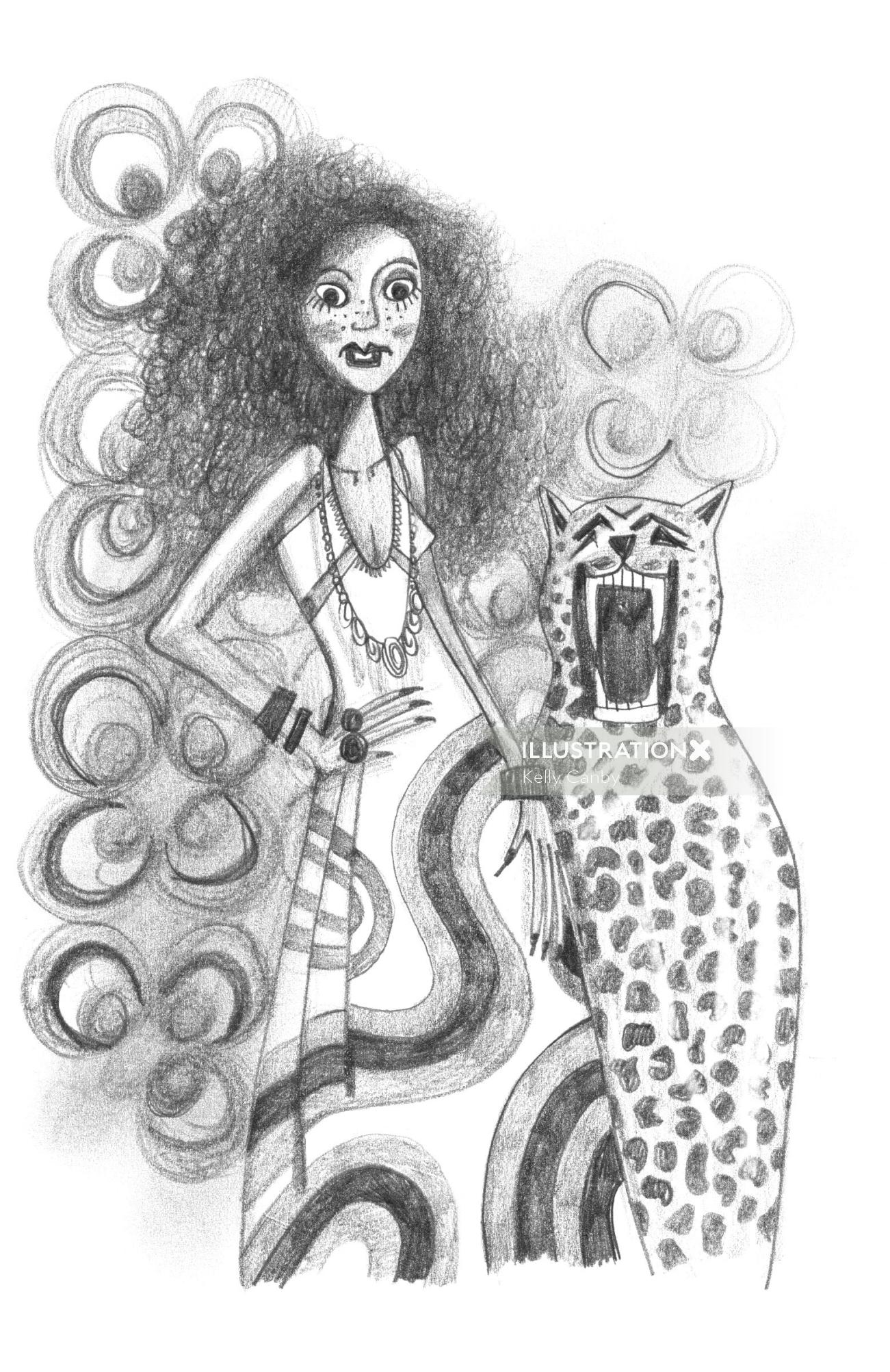 Black & White woman with leopard
