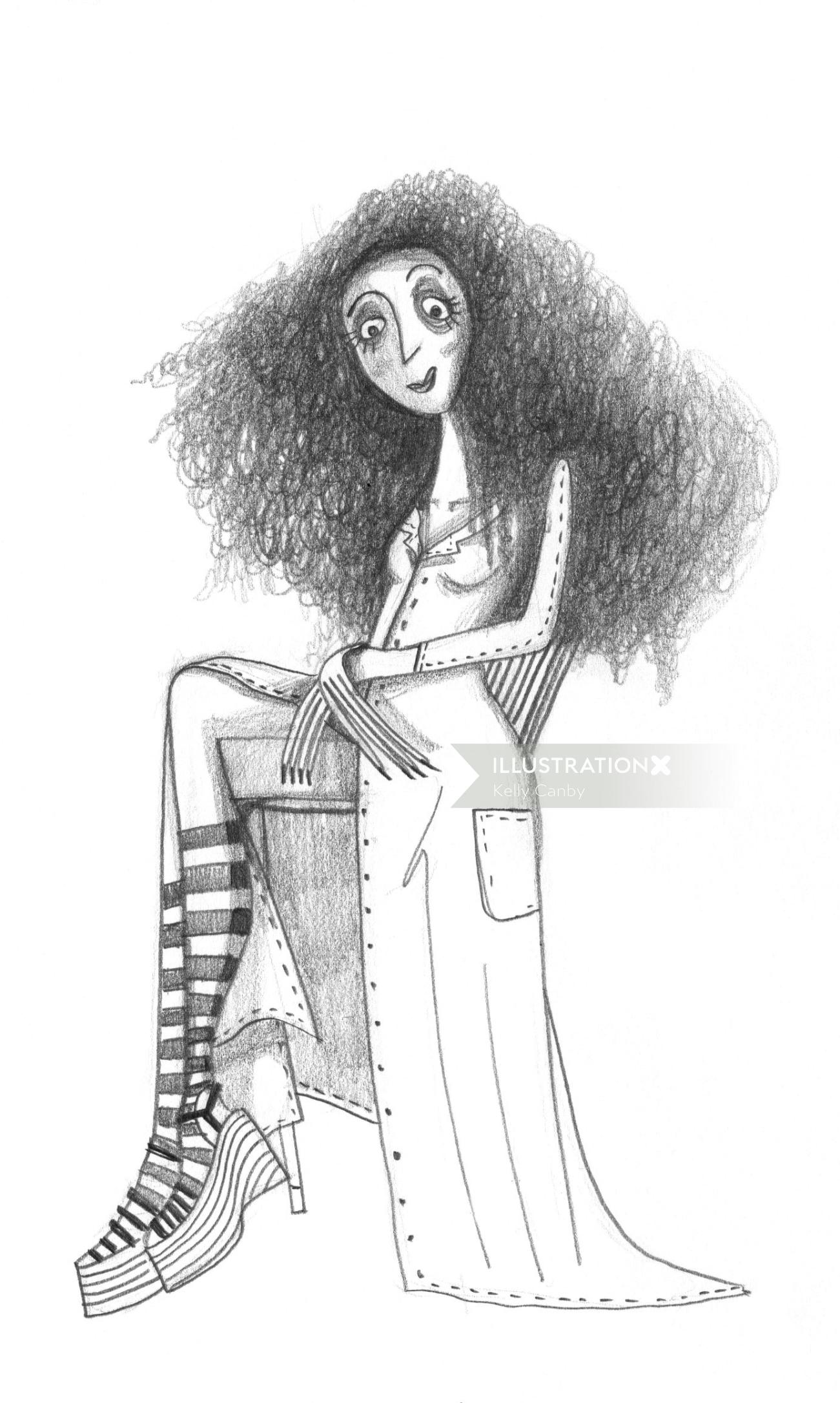 Black white of curly hair woman