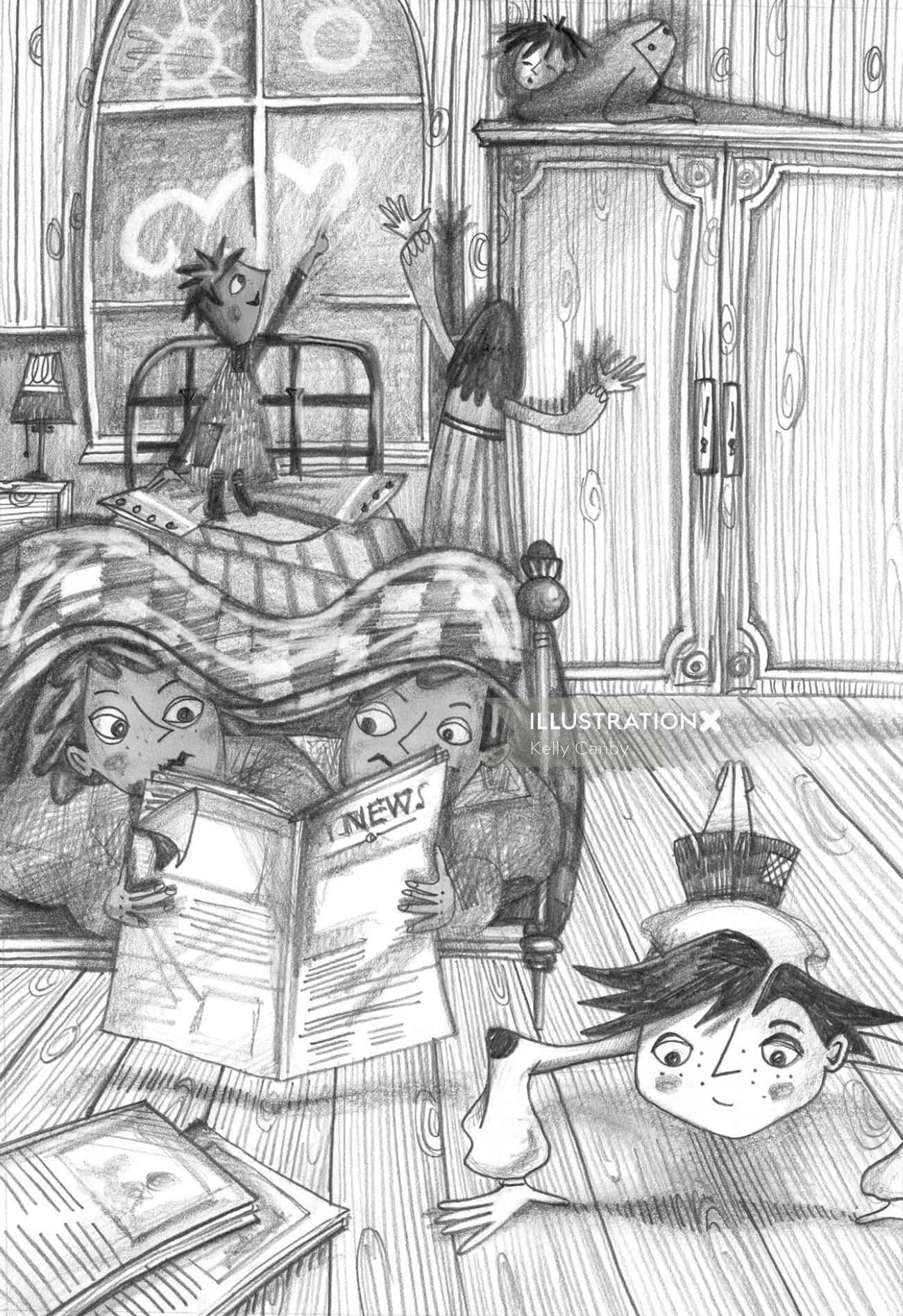 Children's playing in bedroom