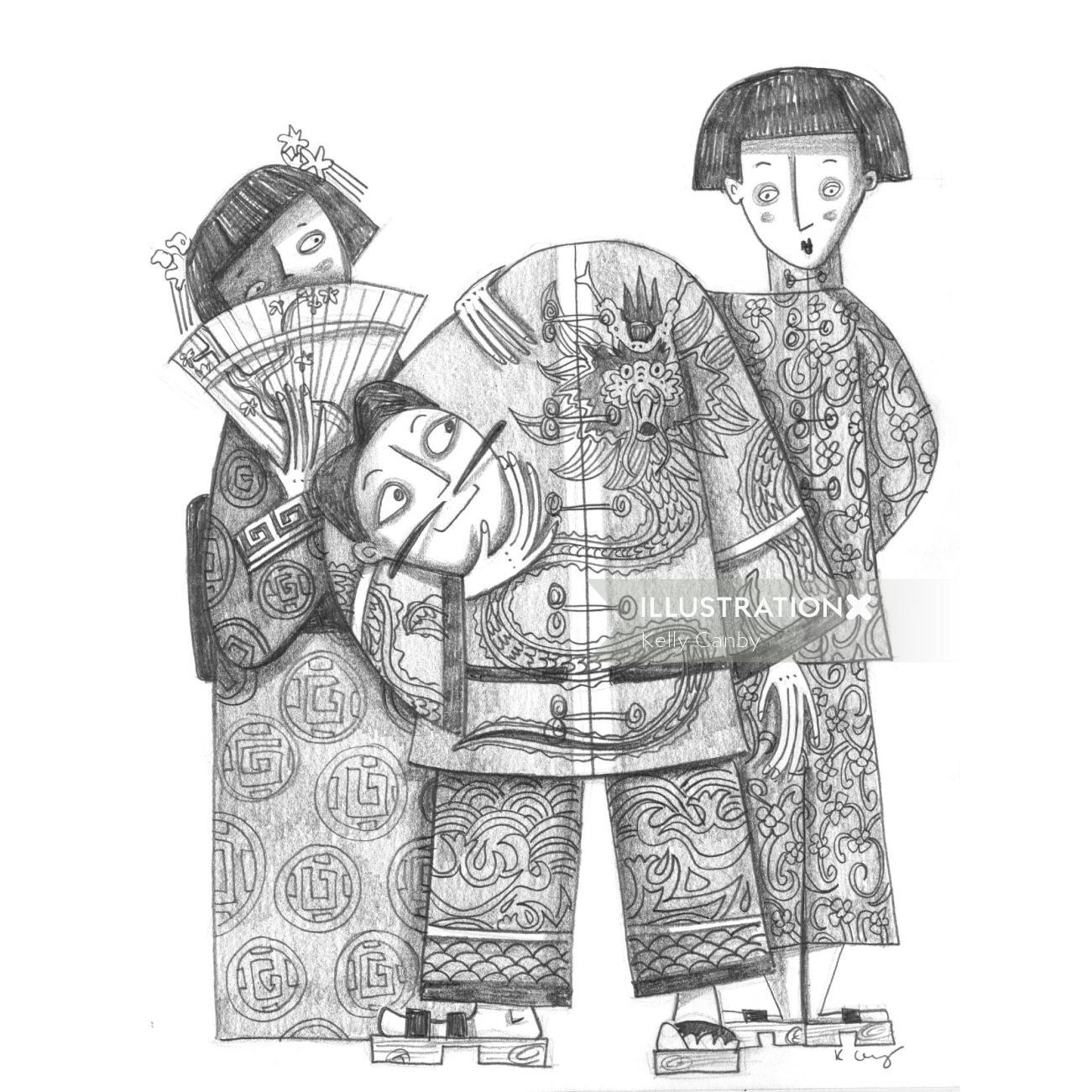 Line illustration of Japanese people