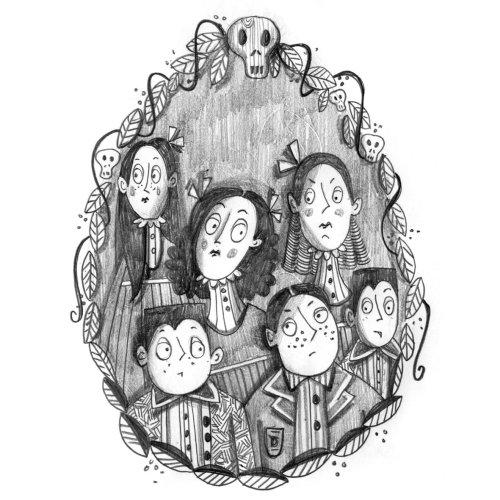 Black and white portraits illustration