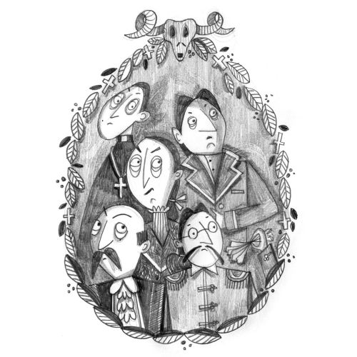 Black & white line illustration of people