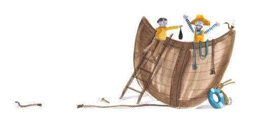 修理船的人的散装插图