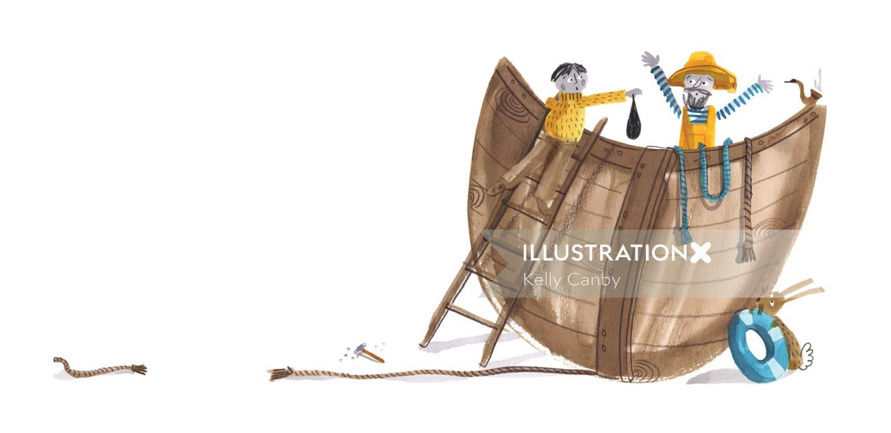 Loose illustration of people repairing boat