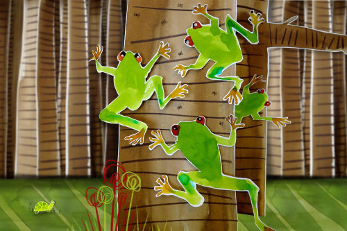 Animals frog climbing up the tree