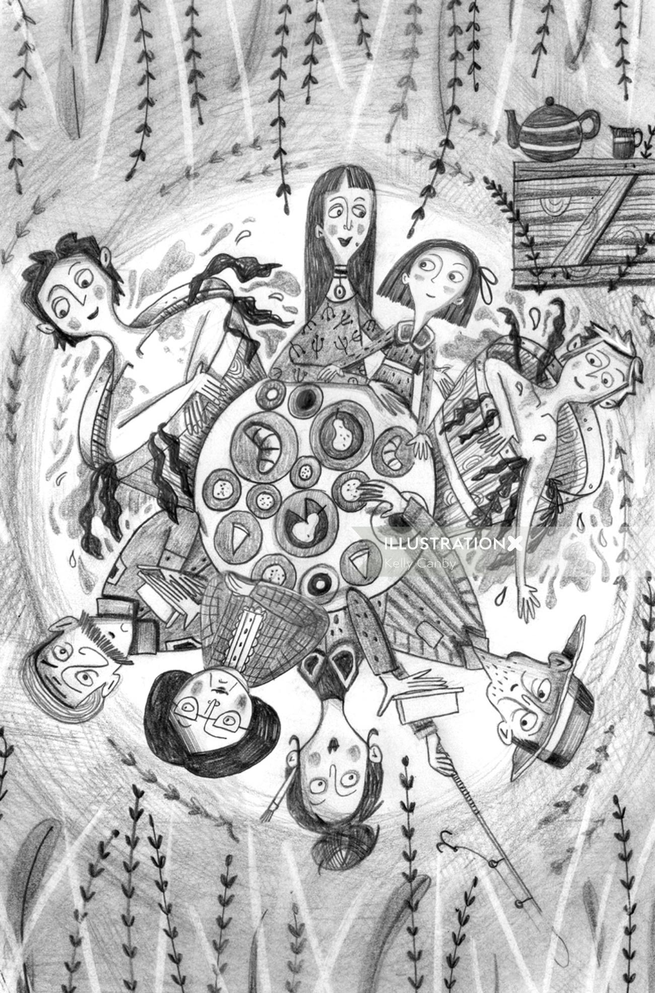 Black and white people artwork