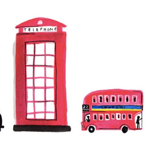 Ink art of London street telephone booth
