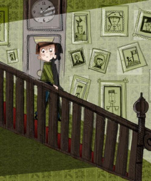 儿童男孩在楼梯上