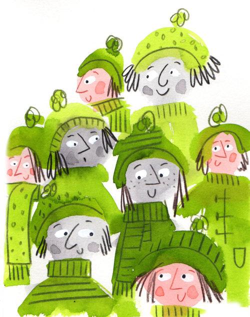 穿着绿色的人