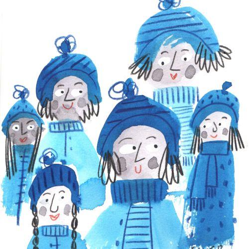 People illustration in winter season