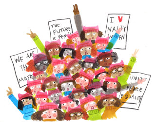 colour pencil illustrated Women's March in 2017