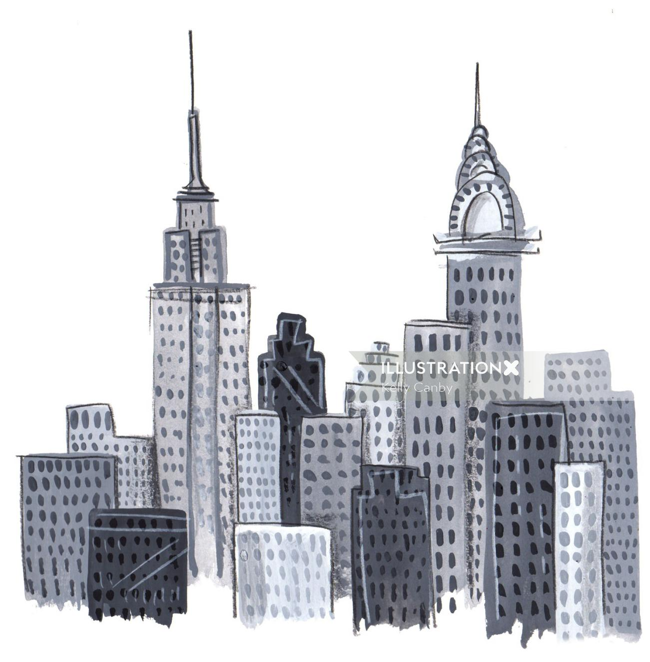 Black and white illustration of Buildings