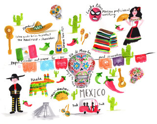 Mexico city expained on paper artwork