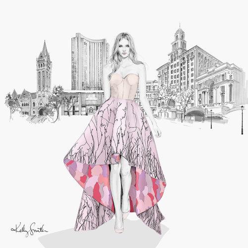 Ilustração de moda senhora para o hotel Grand Hyatt Melbourne