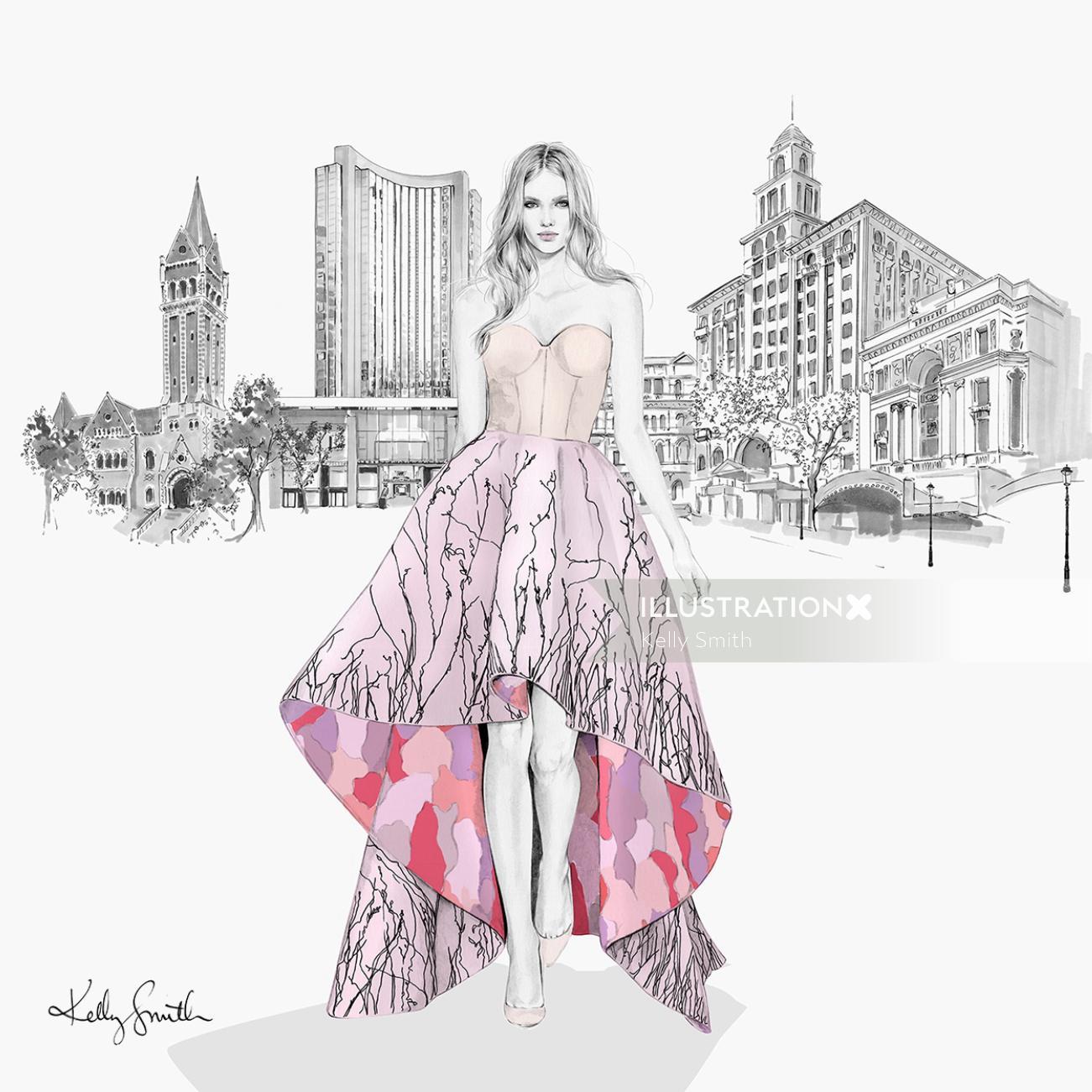 Lady fashion illustration for Grand Hyatt Melbourne hotel